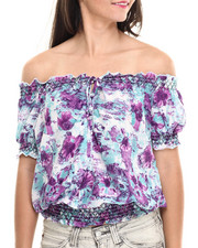 Short-Sleeve - Ladies' Woven Printed Tops