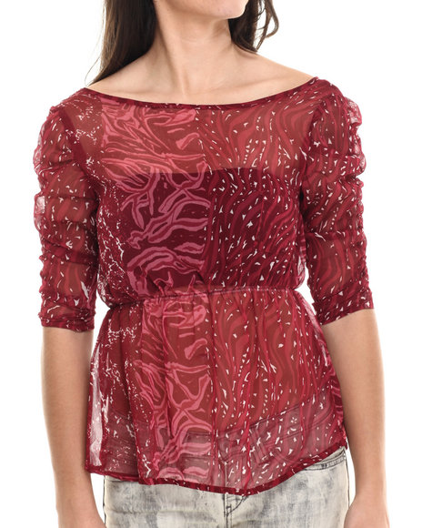 Ur-ID 214577 Fashion Lab - Women Red Ladies' Woven Top