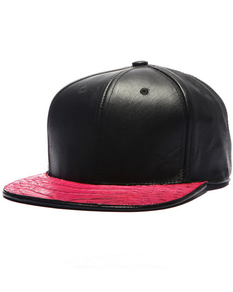 Pradagy Men Pradagy Genuine Crocodile Strapback Hat Dark Pink