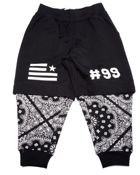 Akademiks - Boys Black Bandana Layered Joggers (4-7) - $44.00