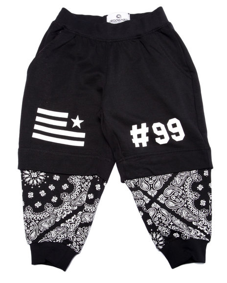 Akademiks - Boys Black Bandana Layered Joggers (2T-4T) - $42.00