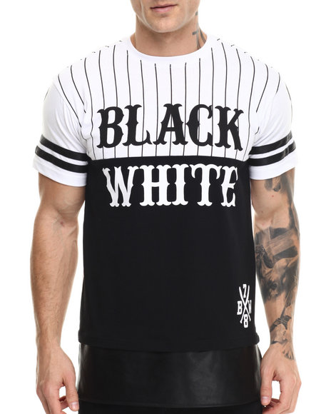 Buyers Picks - Men Black Black N White Baseball Tee
