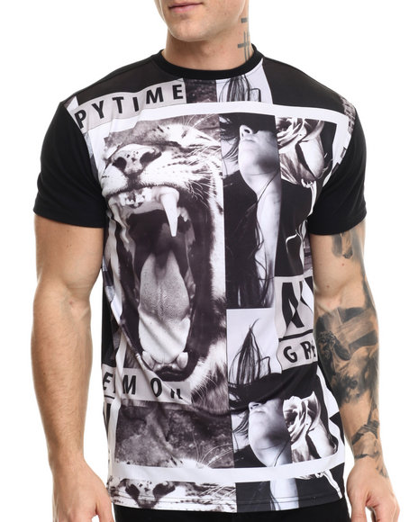 Buyers Picks - Men Black Monotone Photo Print S/S Tee