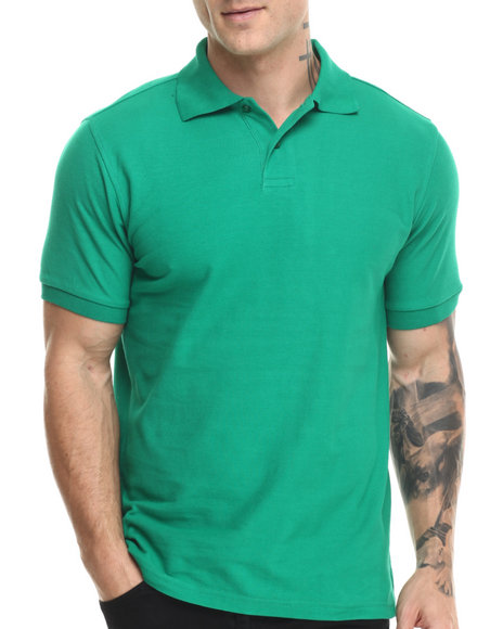 Buyers Picks - Men Green Pique Cotton S/S Polo Shirt