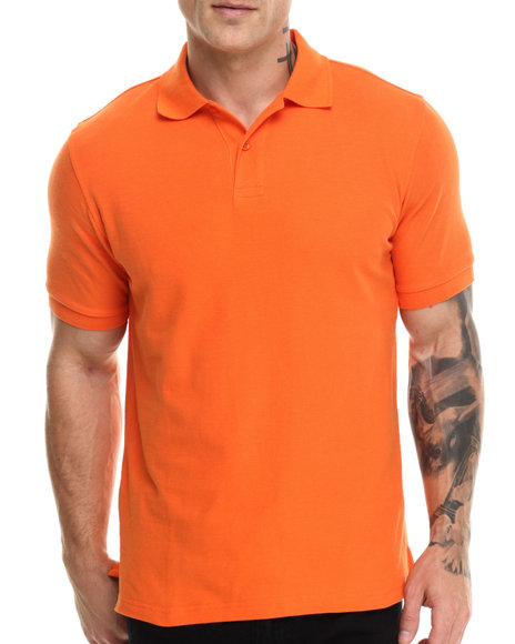 Buyers Picks - Men Orange Pique Cotton S/S Polo Shirt