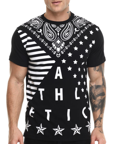 Buyers Picks - Men Black Mix'd Pattern Bandana S/S Tee