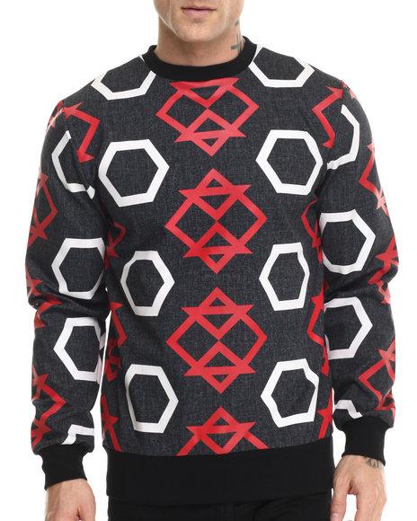 Ur-ID 214586 Kite Club - Men Black All Over Print Geo Crewneck Sweatshirt