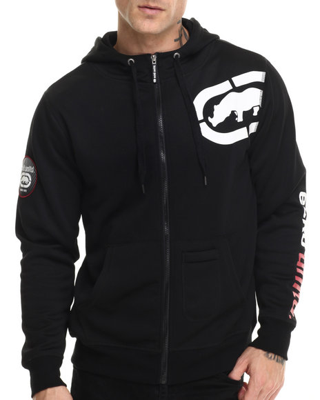 Ecko - Men Black Fleece Zip Hoodie W/ Mesh Lining