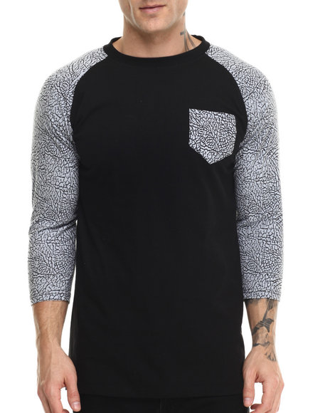 Buyers Picks - Men Black Elephant Print Raglan Tee