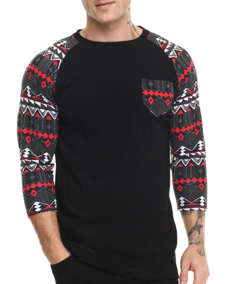 Buyers Picks - Men Black Aztec Print Raglan Tee