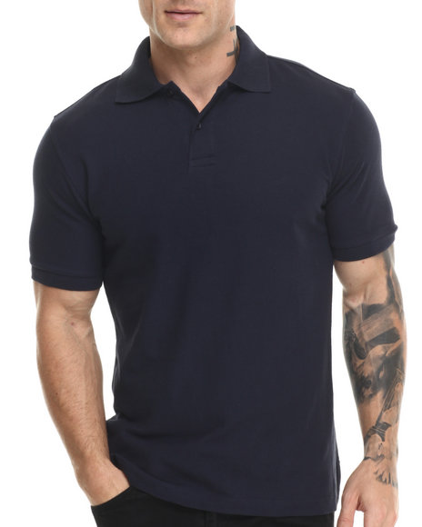 Buyers Picks - Men Navy Pique Cotton S/S Polo Shirt