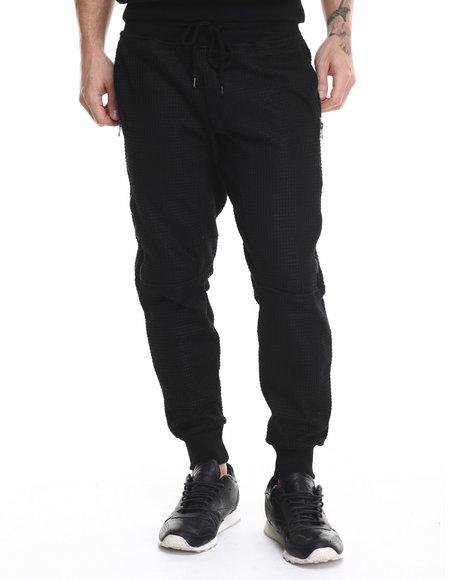 Ur-ID 214583 Kite Club - Men Black Waffle Knit Sweater Jogger Pants