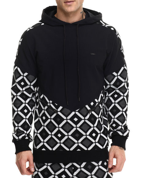 Ur-ID 214584 Kite Club - Men Black Hexagon Sweater Hoodie