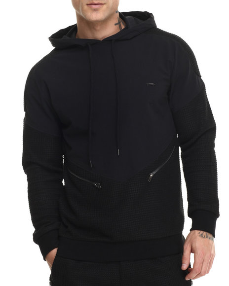 Ur-ID 214588 Kite Club - Men Black Waffle Knit Sweater Hoodie
