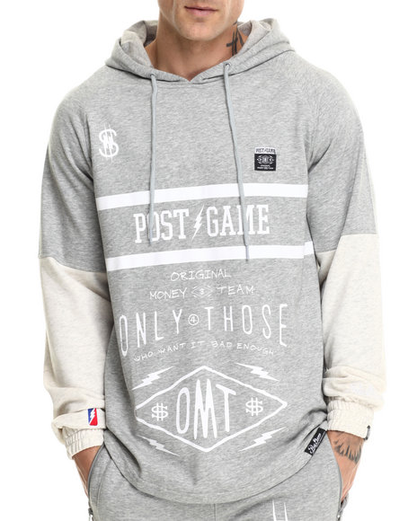 Post Game - Men Grey O M T Money Pullover Hoodie