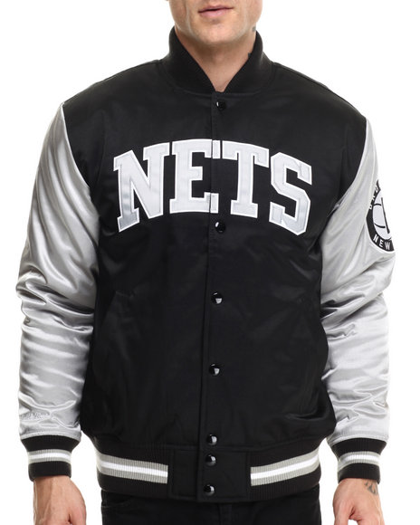 Ur-ID 214610 Mitchell & Ness - Men Black,Silver Brooklyn Nets Nba Color Blocked Satin Jacket