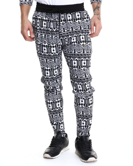 Buyers Picks - Men Black Aztec Print Interlock Drawstring Sweatpants