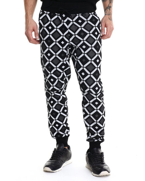 Kite Club - Men Black Hexagon Sweater Jogger Pants