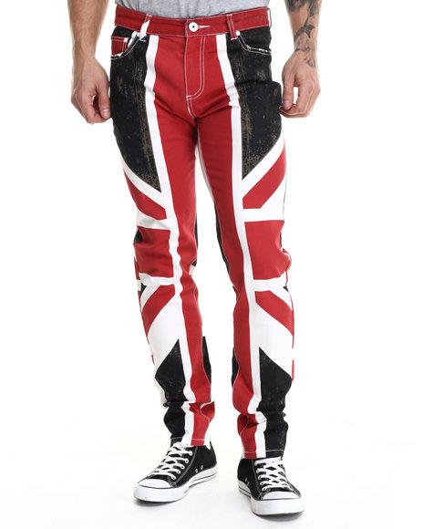 Hudson Nyc - Men Black Union Jack 5 - Pocket Twill Pants