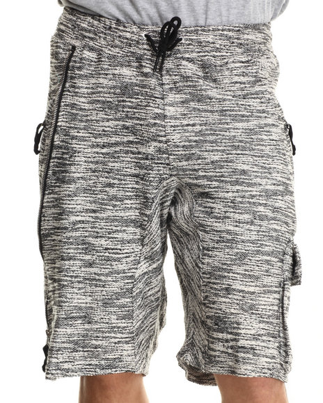 Hudson Nyc - Men Grey Tactical French - Terry Cargo Shorts
