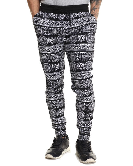 Buyers Picks - Men White Ancient Print Interlock Drawstring Sweatpants