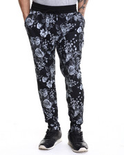 Men - Black Rose Print Interlock Drawstring sweatpants