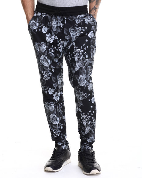 Buyers Picks - Men Black Black Rose Print Interlock Drawstring Sweatpants - $16.99