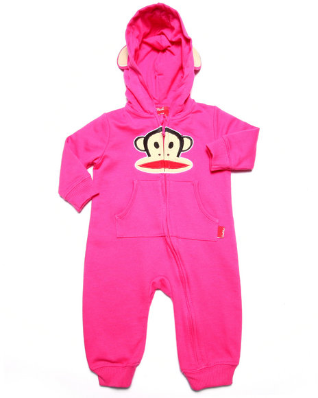 Paul Frank - Girls Pink Zip Front Hooded Coverall (Newborn) - $12.99