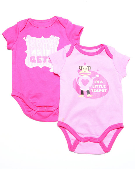 Paul Frank - Girls Pink 2 Pack Bodysuits (Newborn)