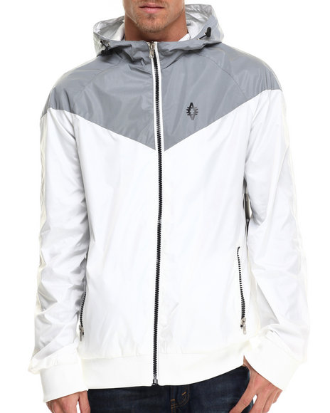 Ur-ID 214705 Akademiks - Men White Flash Sprinter Reflective Retro Windbreaker Jacket