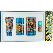 Men - ED HARDY HEARTS & DAGGERS EDT SPRAY 3.4 OZ & DEODORANT STICK ALCOHOL FREE 2.75 OZ & HAIR AND BODY WASH 3 OZ & EDT SPRAY .25 OZ MINI & LUGGAGE TAG