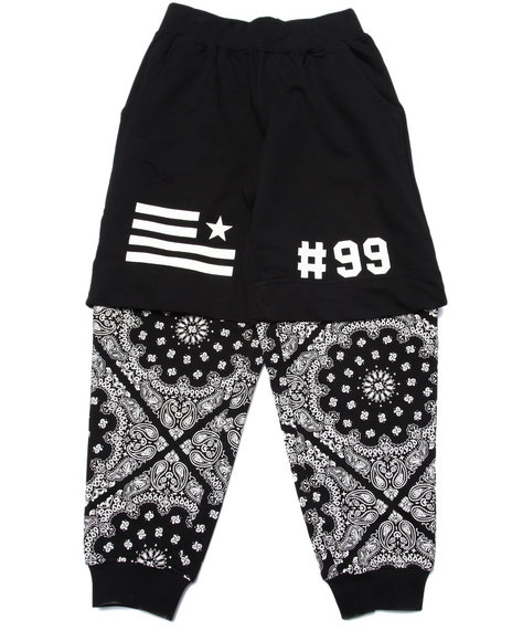 Akademiks - Boys Black Bandana Layered Joggers (8-20) - $46.00