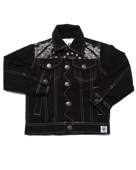 Akademiks - Boys Black Bandana Denim Jacket (4-7) - $62.00