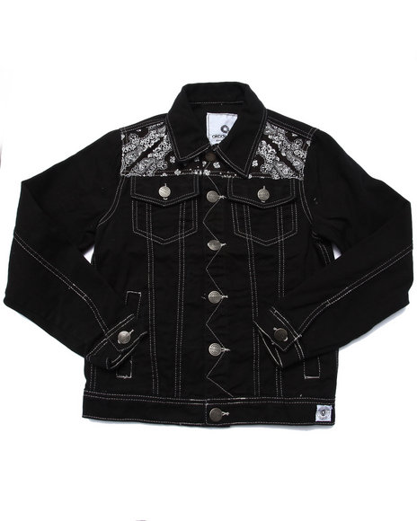 Akademiks - Boys Black Bandana Denim Jacket (8-20) - $64.00