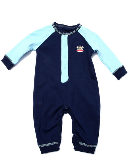 Paul Frank - Boys Navy Trap Door Coverall (Newborn)