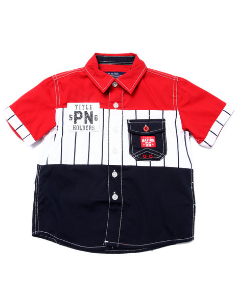 Parish - Boys Red S/S Baseball Woven (2T-4T) - $11.99