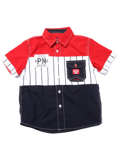 Parish - Boys Red S/S Baseball Woven (4-7)