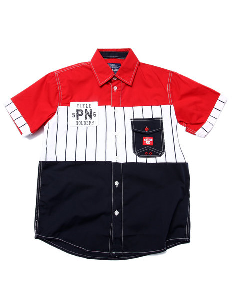 Parish - Boys Red S/S Baseball Woven (8-20) - $13.99