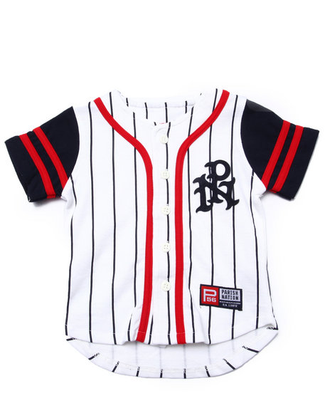 Parish - Boys White Striped Parish Baseball Jersey (2T-4T)