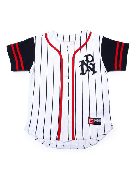 Parish - Boys White Striped Parish Baseball Jersey (8-20)