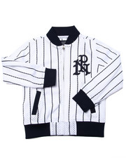 Light Jackets - STRIPED MESH BASEBALL JACKET (4-7)