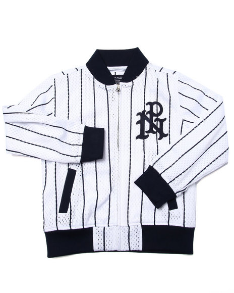 Parish - Boys White Striped Mesh Baseball Jacket (4-7)