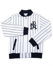 Light Jackets - STRIPED MESH BASEBALL JACKET (8-20)