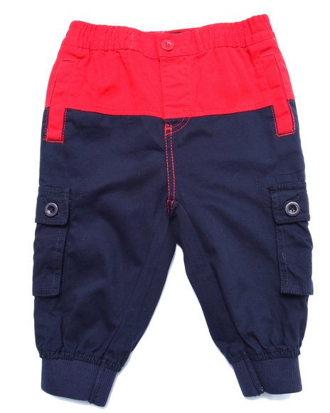 Parish - Boys Navy Color Block Twill Cropped Pants (4-7)