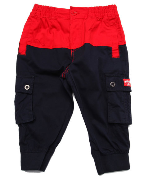 Parish - Boys Navy Color Block Twill Cropped Pants (8-20)