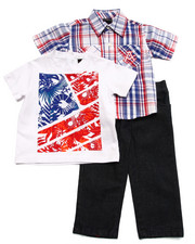 Sets - 3 PC SET - PLAID SHIRT, TEE, & JEANS (INFANT)