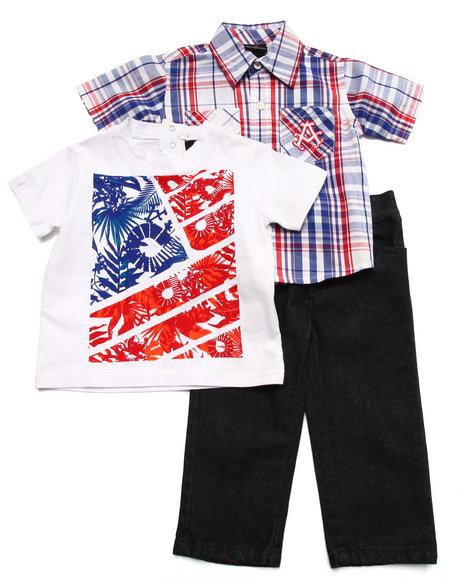Akademiks - Boys Blue 3 Pc Set - Plaid Shirt, Tee, & Jeans (Infant)
