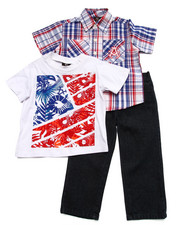 Sets - 3 PC SET - PLAID SHIRT, TEE, & JEANS (2T-4T)