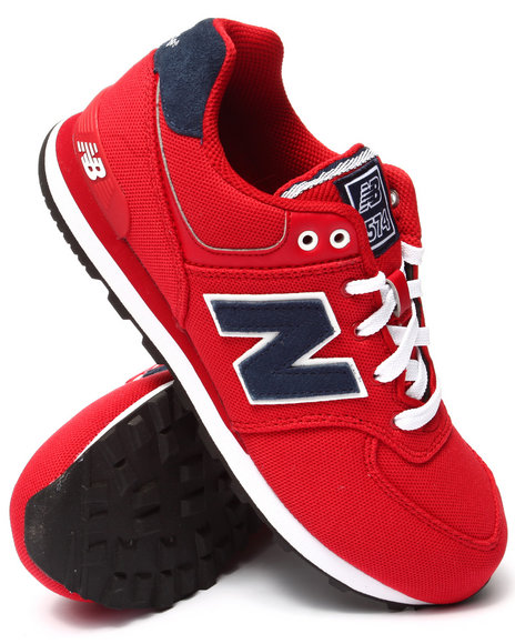 New Balance - Boys Red Pique Polo 574 Sneakers (3.5-7)