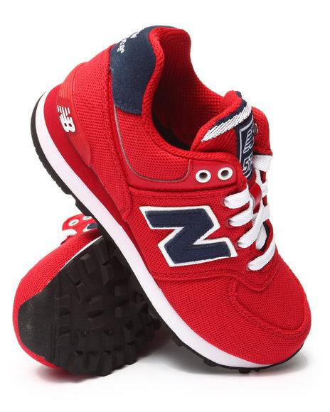 New Balance - Boys Red Pique Polo 574 Sneakers (11-3)